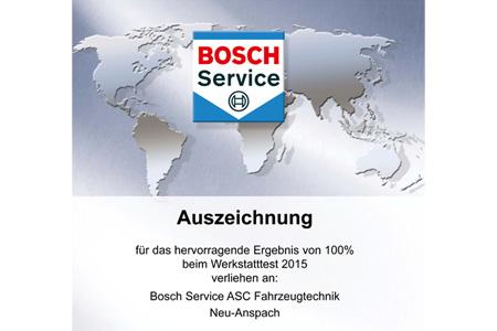 100% beim Bosch Werkstatttest 2015