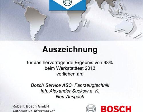 Bosch Werkstatttest: Sehr gut